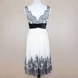 Melinda Eng Dresses - Melinda Eng Black & White Lace Bow 100% Silk Dress